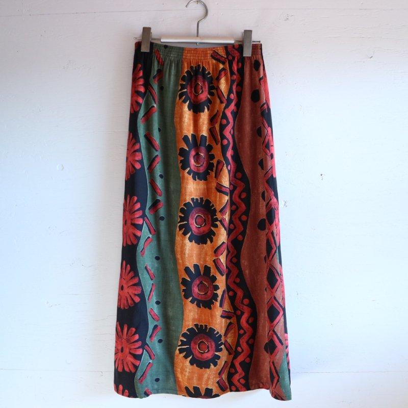 エスニックプリント 花柄 ロングスカート