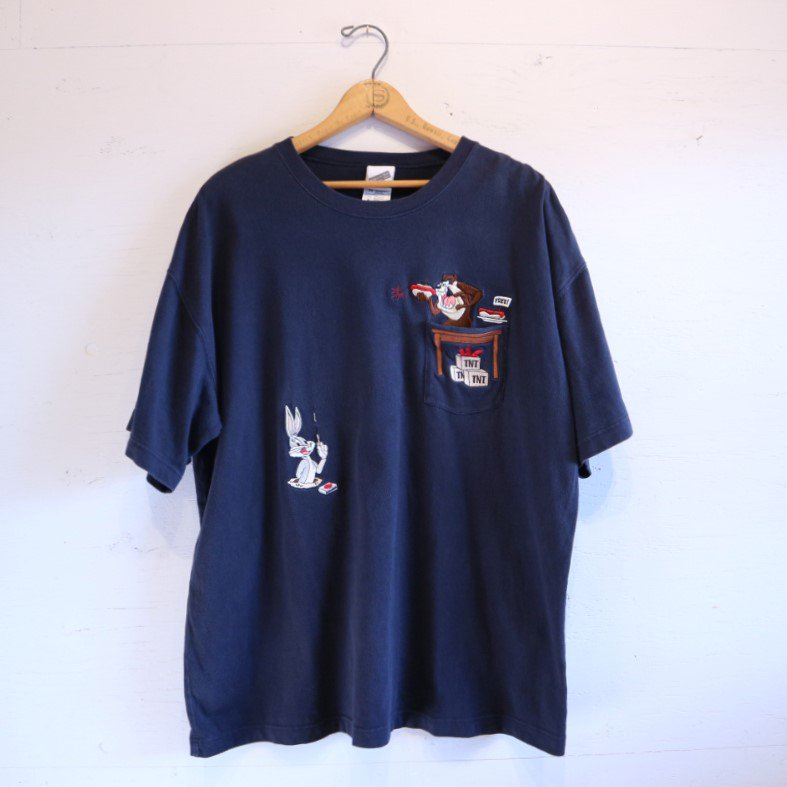 90-00's WARNER BROS Looney Tunes ポケットTシャツ XL