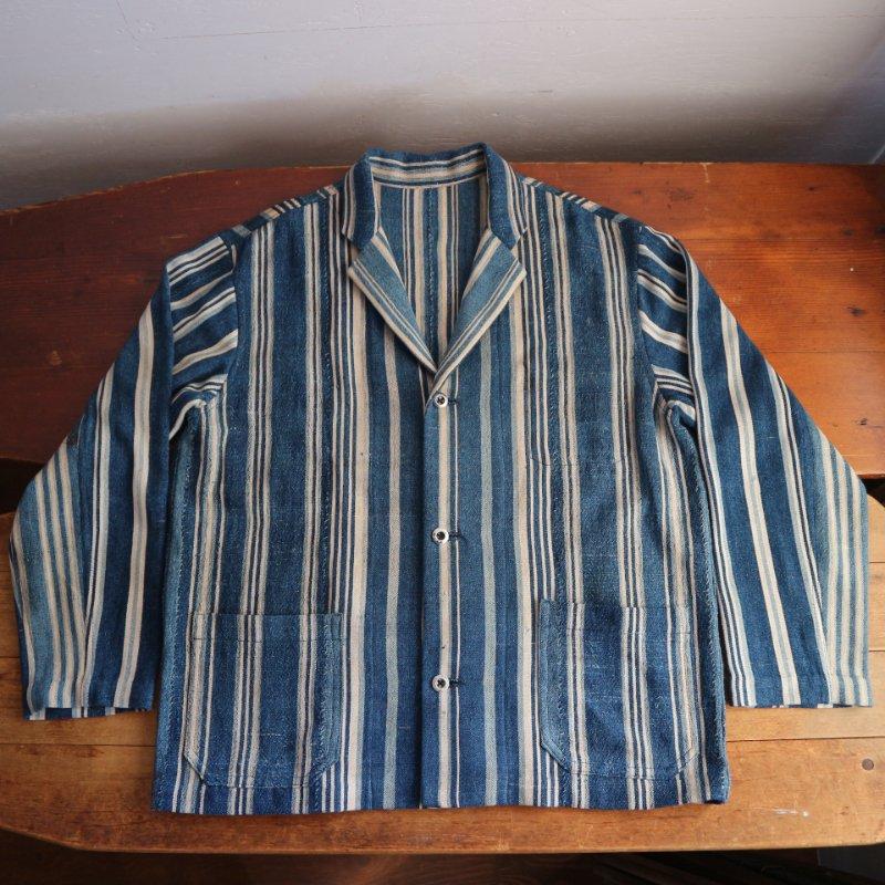 ~1930's African indigo Fabric Remake Jacket リメイクジャケット(ストライプ)