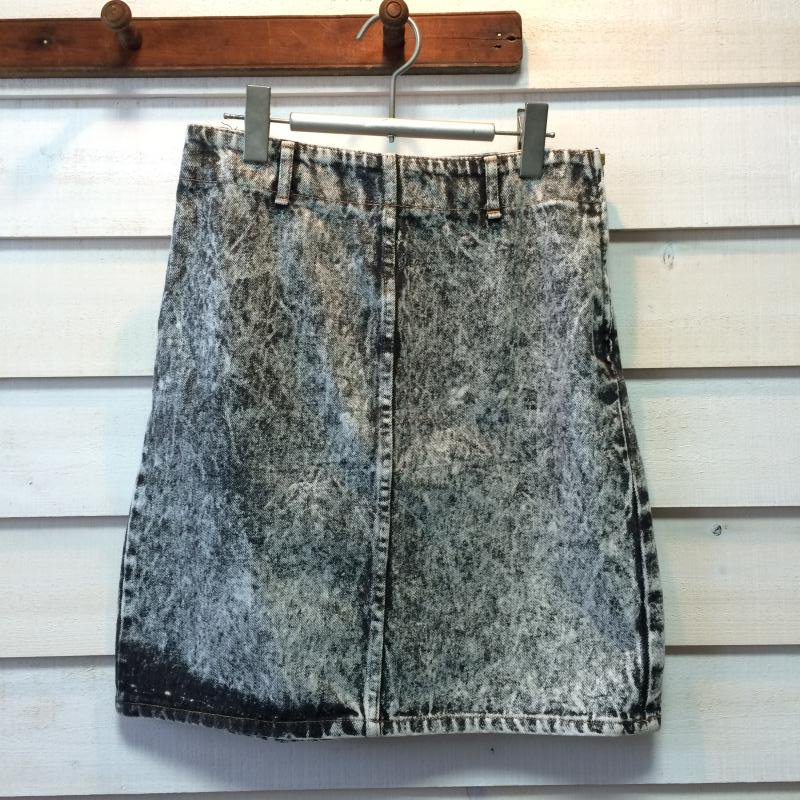 70's Black Denim chemical wash skirt
