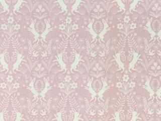 うさぎと花のダマスク柄 ピンク地に白