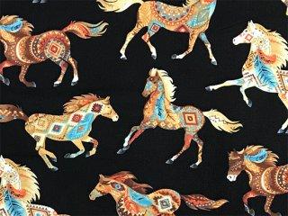フォークロア模様の馬 アースカラー