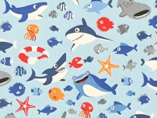 サメ カートゥーン ライトブルー