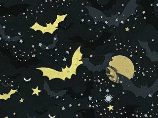 金の月とコウモリ 黒