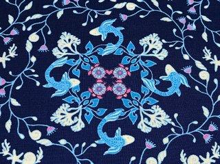 陶器柄風 魚 ブルー