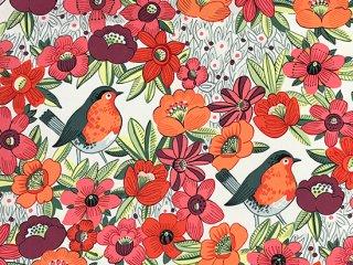 花とクックロビン オレンジ・ピンク