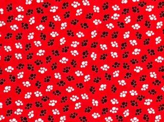 足跡柄 赤い地に黒と白