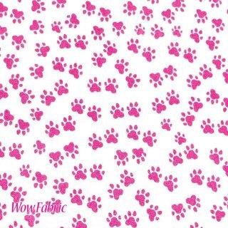足跡柄 白地にピンク