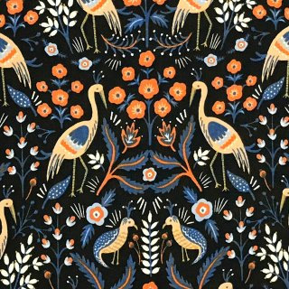 鳥と花のダマスク柄 ネイビー