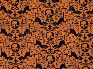 猫とスカルのダマスク オレンジ地に黒