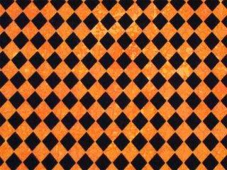 ハロウィンカラーのアルルカン模様 オレンジ