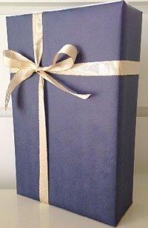 2本用ギフトボックス<br/> 包装紙ブルー&金色リボン