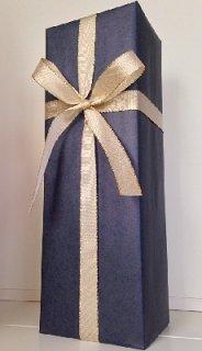 1本用ギフトボックス<br/>包装紙ブルー&金色リボン