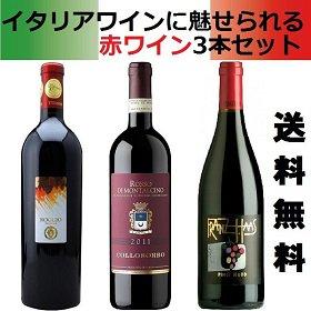送料無料 イタリアワインに魅せられる!赤ワイン3本セット