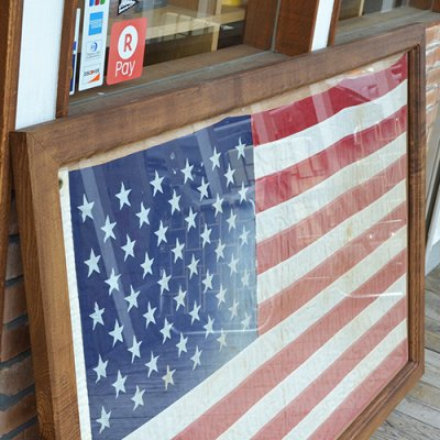 Vintage American Flag with Wood Frame