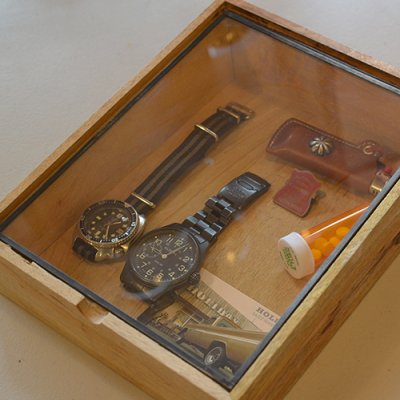 Wooden Taper Box With Glass Lid