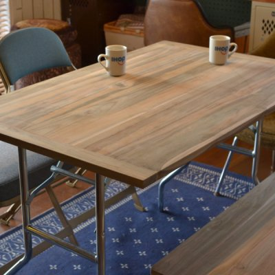 Solid Teak Table with EBCO Wishbone Legs Set