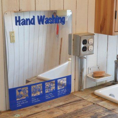 HAND WASH MIRROR SIGN