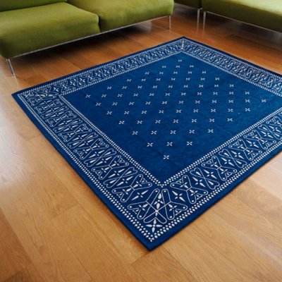Cross Bandanna Rug 200×200cm Navy