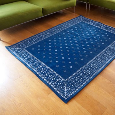 Cross Bandanna Rug 200×140cm  Navy