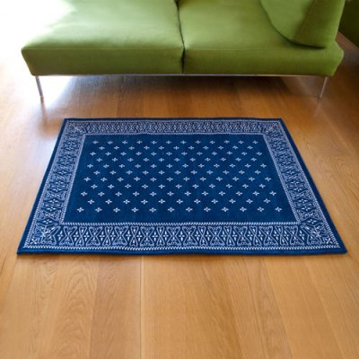 Cross Bandanna Rug 140×100cm Navy