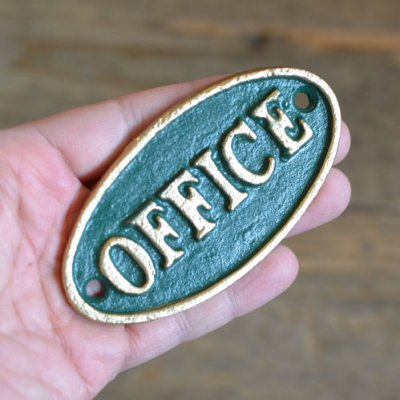 Iron Oval Green Sign  OFFICE