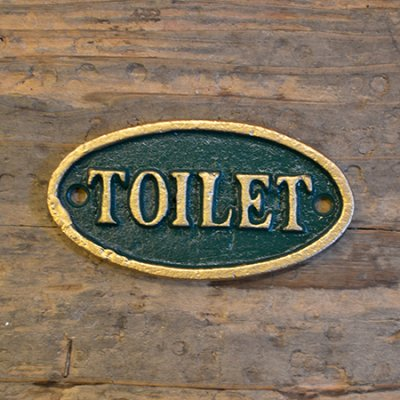 Iron Oval Green Sign  TOILET