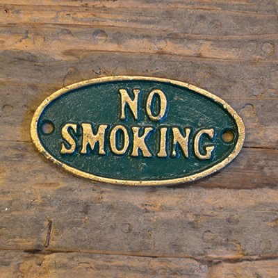 Iron Oval Green Sign NO SMOKING
