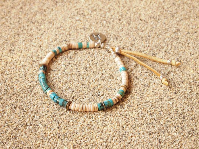 LADY'S  TURQUOISE × SHELL ターコイズ シェル ブレスレット