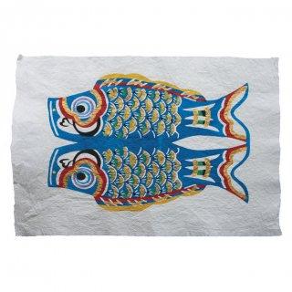 和紙 鯉のぼり 型染絵(青)