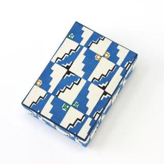 和紙はがき箱<br>[キリム調模様 青]<br>
