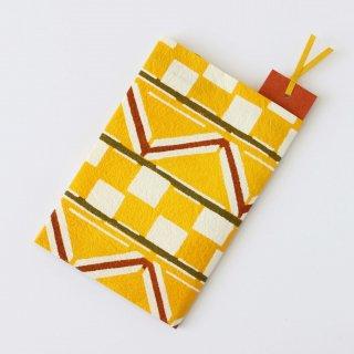 和紙ブックカバー<br>[市松幾何紋 黄]<br>