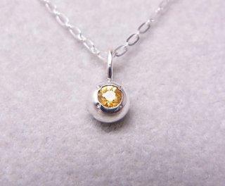 イエローサファイアの純銀の珠