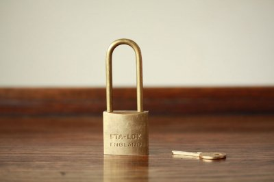 イギリス オールド真鍮パドロック 鍵付き