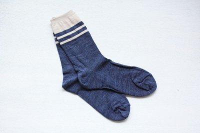 絹屋 内側シルク2重編み靴下(ウール) レディース 紺色