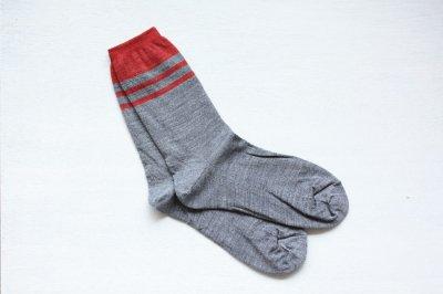 絹屋 内側シルク2重編み靴下(ウール) レディース 銀色