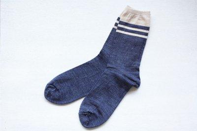 絹屋 内側シルク2重編み靴下(ウール) メンズ 紺色