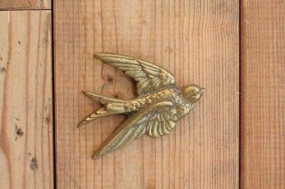 イギリス 真鍮ウォールオブジェ ツバメ