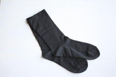 絹屋 内側シルク2重編み靴下 綿 履き口ゆったり レディース 鉄黒色