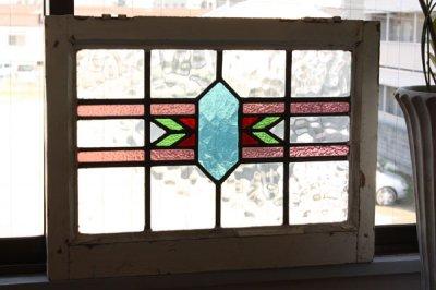 イギリス アンティークステンドグラス 幾何学模様