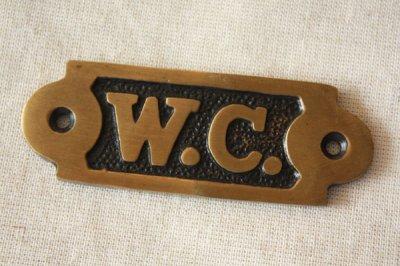真鍮サインプレート W.C.