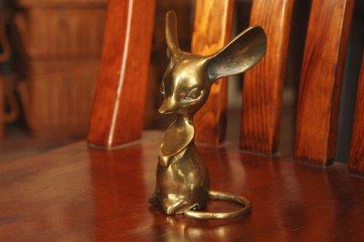 アメリカ 真鍮フィギュア ネズミ