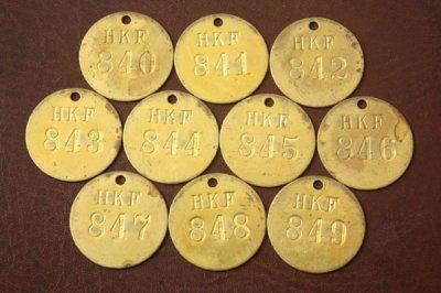 アメリカ オールド真鍮タグ HKF 840-849