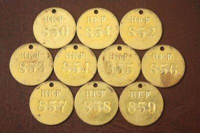 アメリカ オールド真鍮タグ HKF 850-859