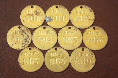 アメリカ オールド真鍮タグ HKF 860-869