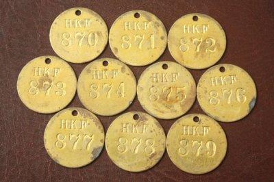 アメリカ オールド真鍮タグ HKF 870-879