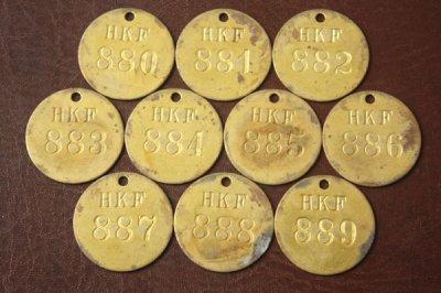 アメリカ オールド真鍮タグ HKF 880-889