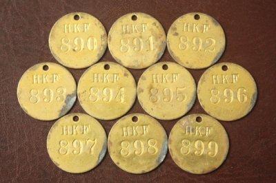 アメリカ オールド真鍮タグ HKF 890-899