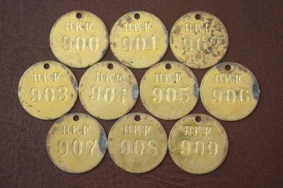 アメリカ オールド真鍮タグ HKF 900-909