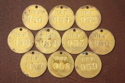 アメリカ オールド真鍮タグ HKF 950-959